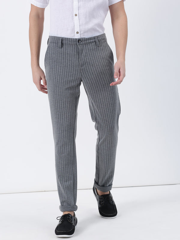 Grey Striped Lean Fit Trouser