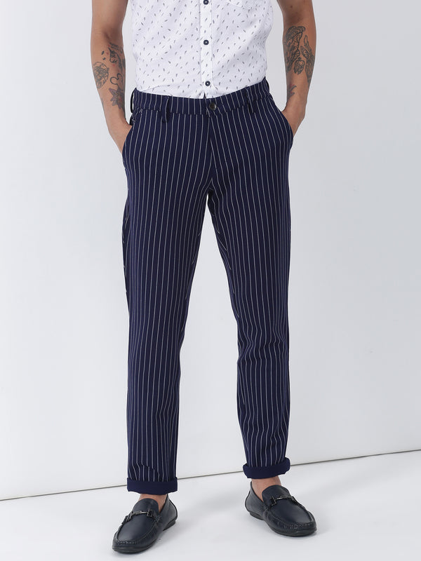 Navy Striped Lean Fit Trouser