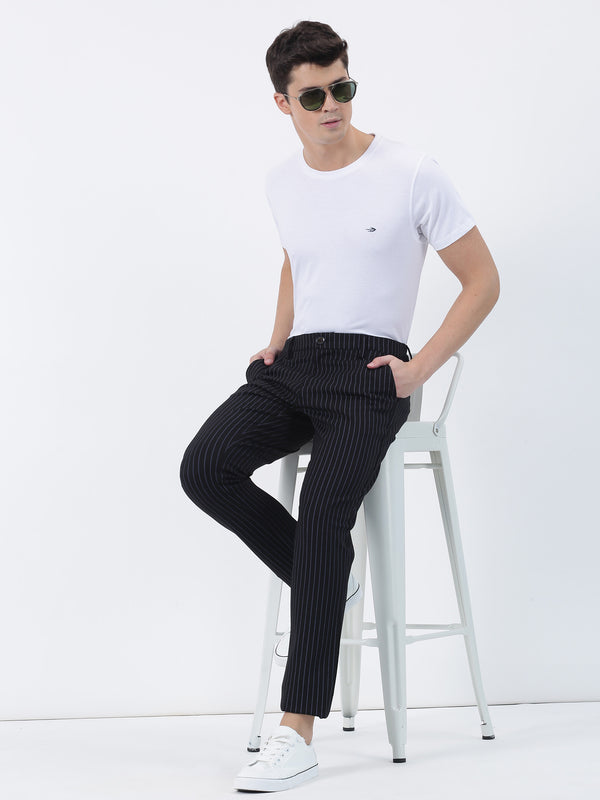 Black Striped Lean Fit Trouser