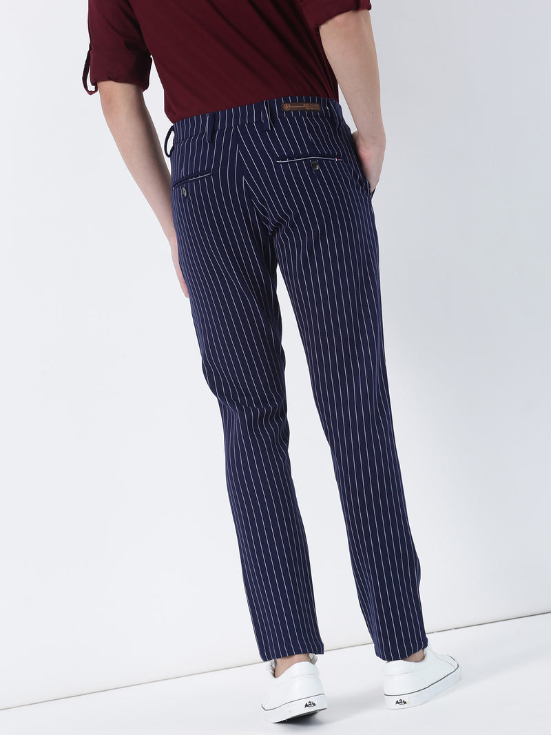 Navy Striped Ultra Slim Fit Trouser