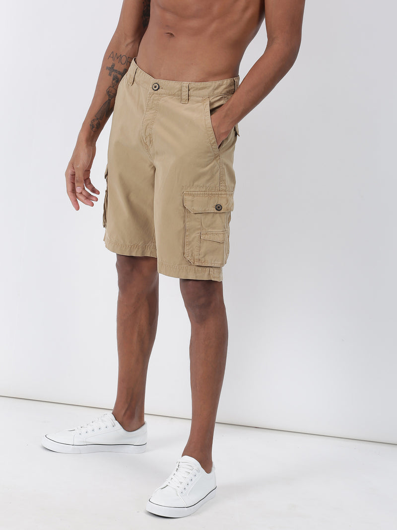 Khaki Plain Casual Cargo Short
