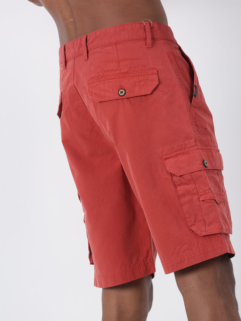 Red Plain Casual Cargo Short