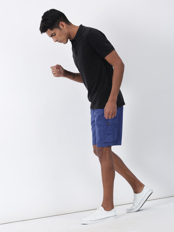 Navy Plain Casual Cargo Short