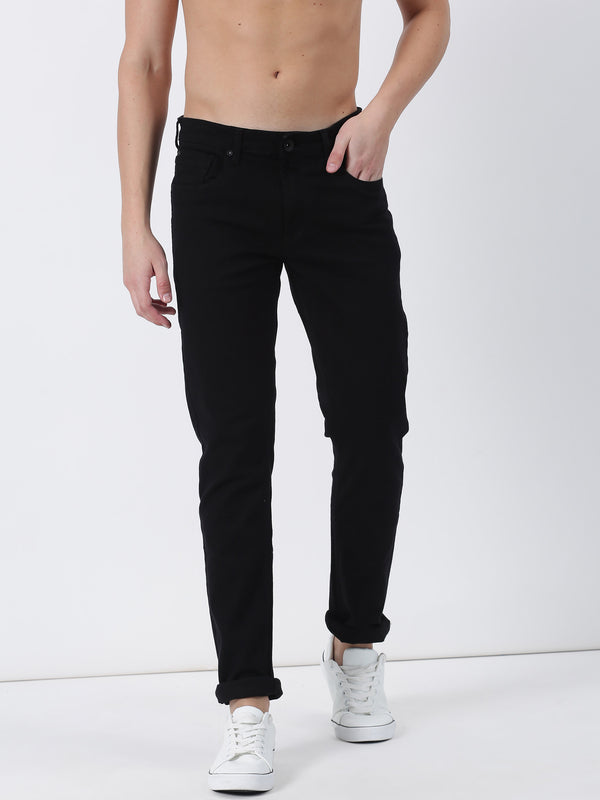Black Plain Dean Fit Jeans