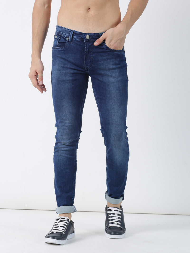 Medium Blue Plain Dean Fit Jeans