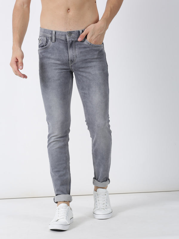 Light Grey Plain Dean Fit Jeans