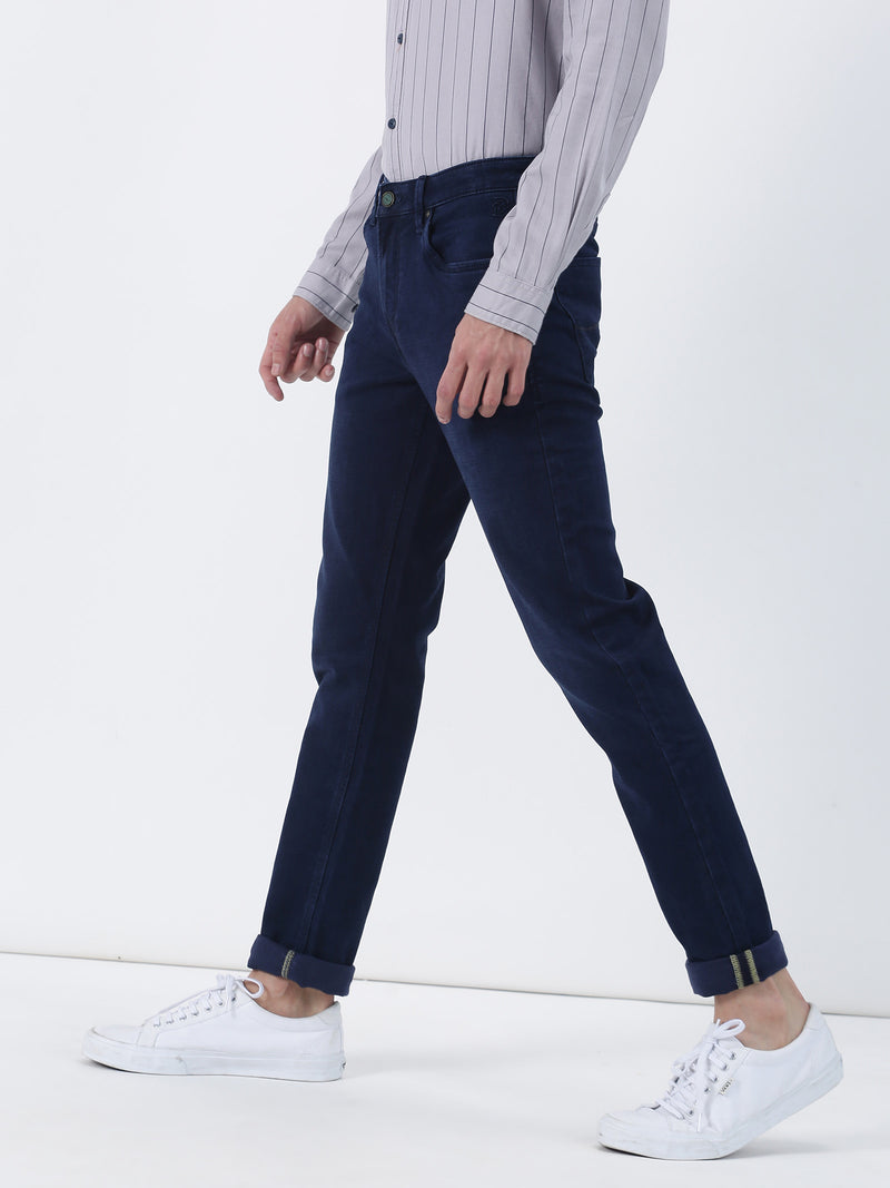 Dark Blue Plain Dean Fit Jeans