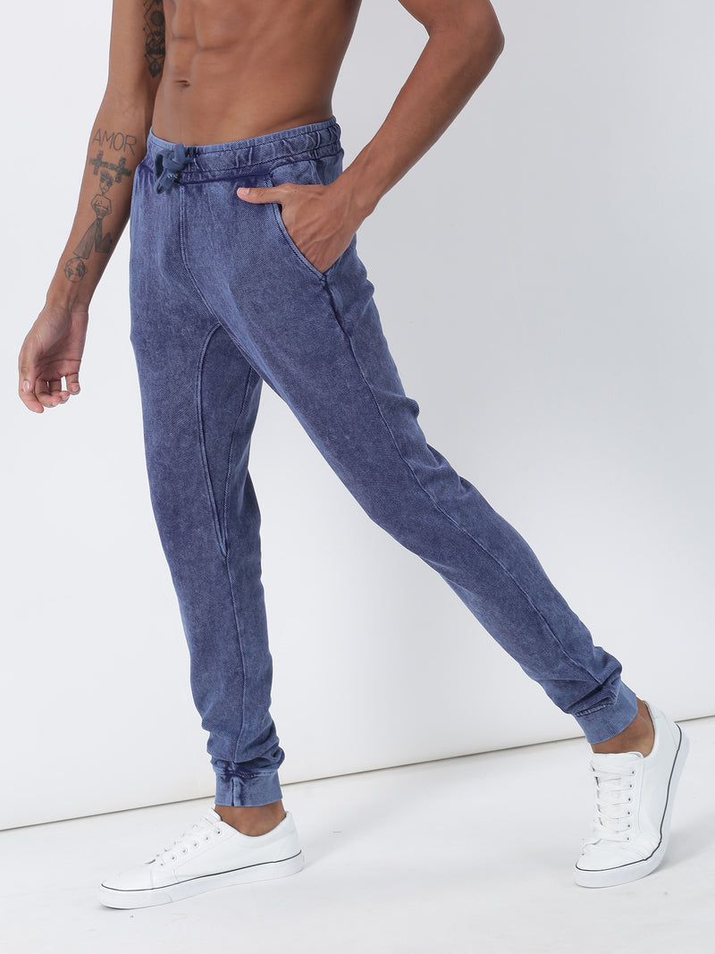 Indigo Dark Plain Casual Jogger
