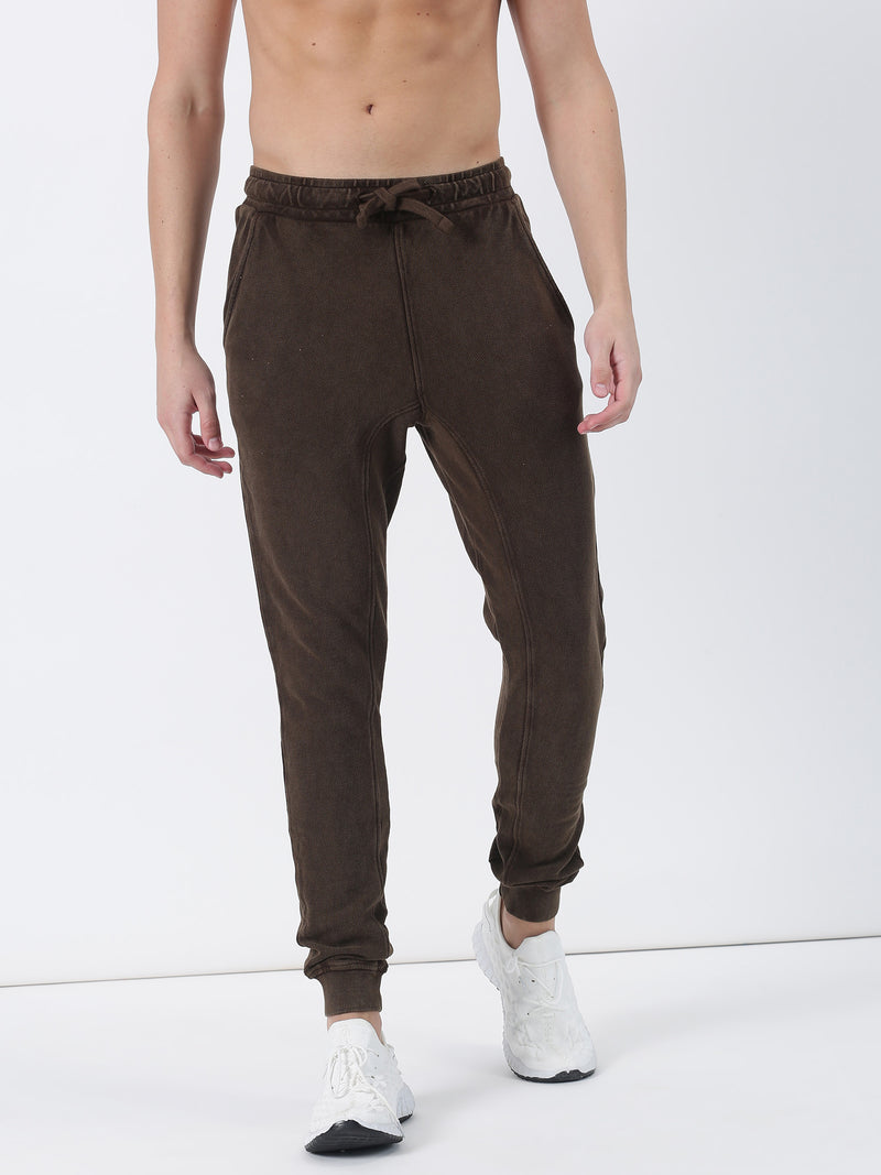 Brown Plain Casual Jogger