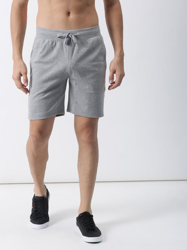 Grey Melange Plain Casual Short