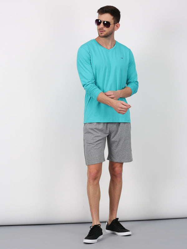Light Grey Plain Casual Short