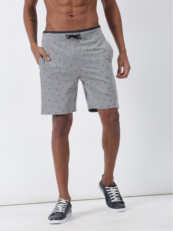 Light Grey Printed Casual Short