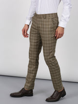 Khaki Checked Slim Fit Trouser