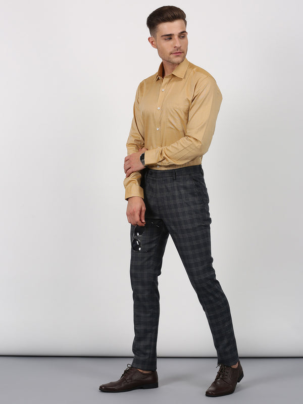 Navy Checked Slim Fit Trouser