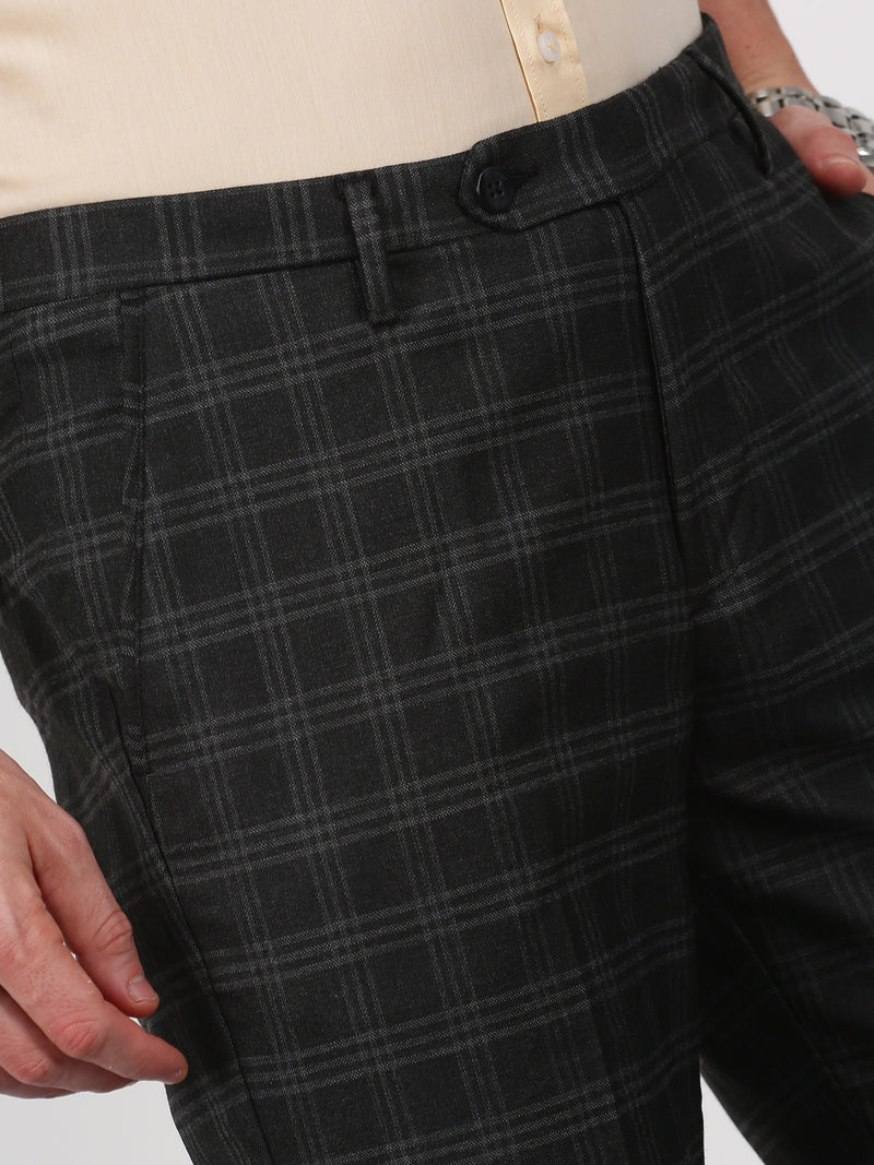 Black Checked Slim Fit Trouser