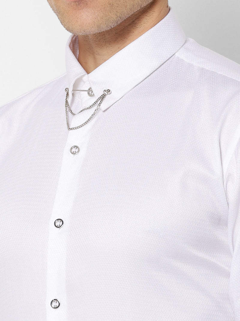 White Plain Party Wear Shirt