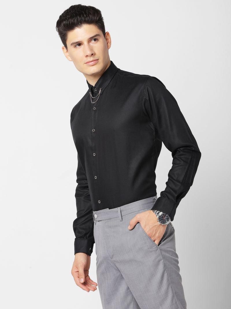Black Plain Party Wear Shirt