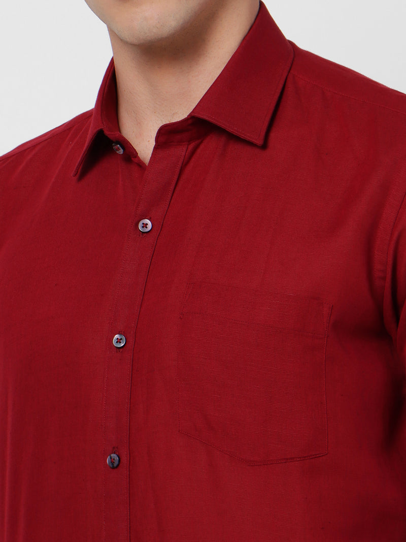 Red Linen Plain Formal Shirt