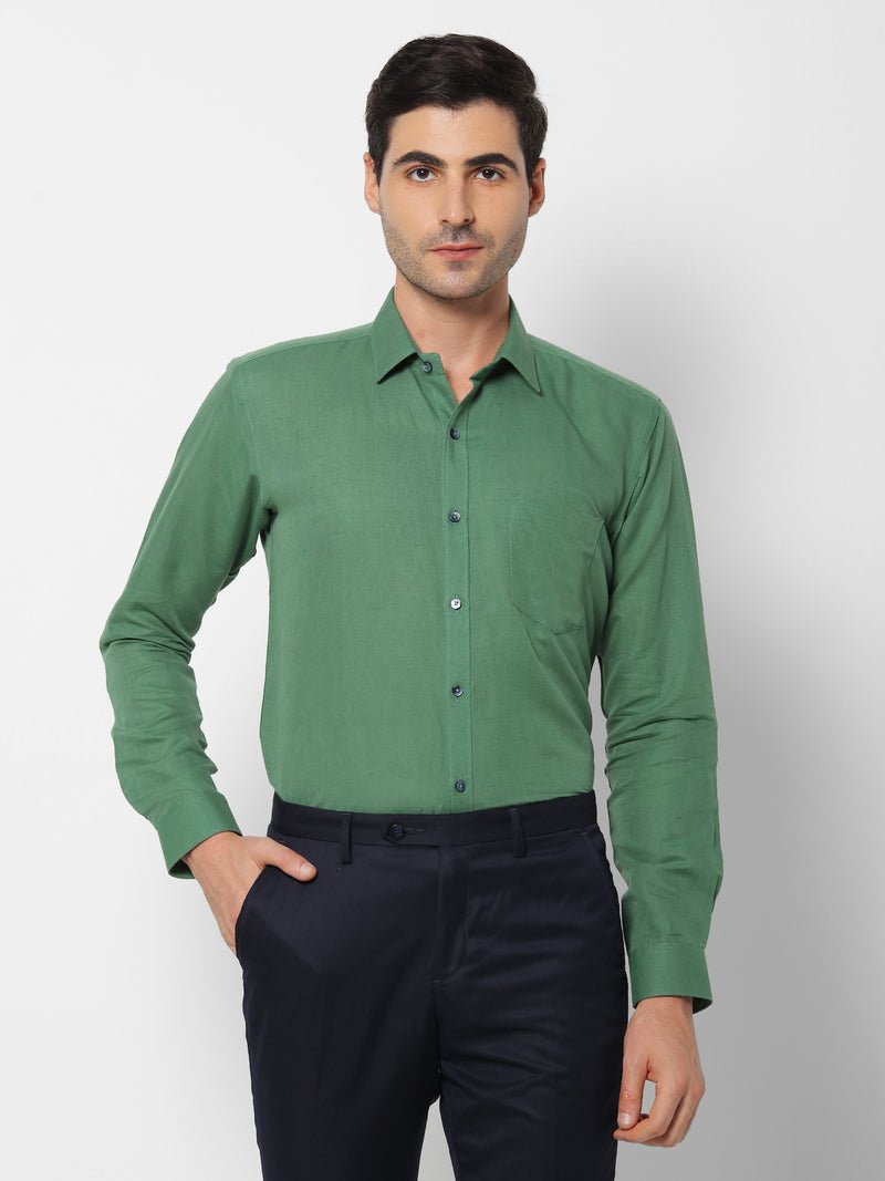 Green Linen Plain Formal Shirt