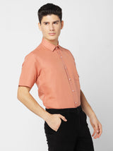 Orange Linen Plain Formal Shirt