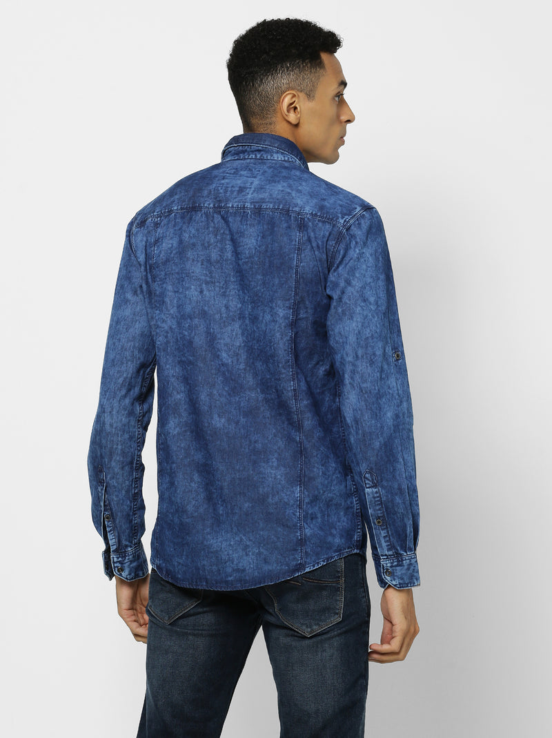 Navy Denim Plain Casual Shirt