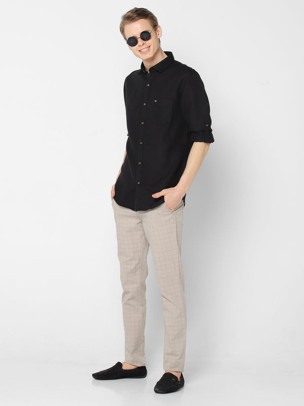 Black Linen Plain Casual Shirt