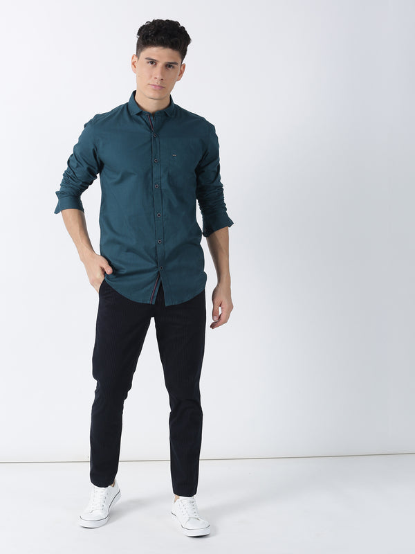 Dark Teal Plain Long Sleeve Casual Shirt