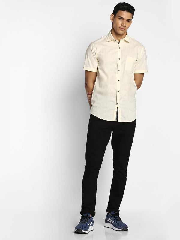 Cream Plain Casual Shirt