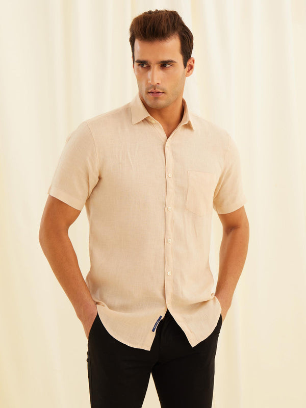 Cream Linen Plain Casual Shirt