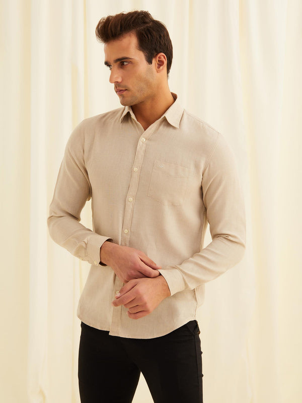 Natural Plain Long Sleeve Casual Shirt