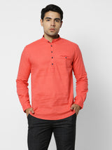 Orange Plain Casual Kurta