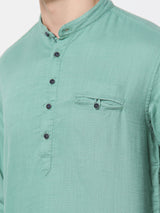 Green Plain Casual Kurta