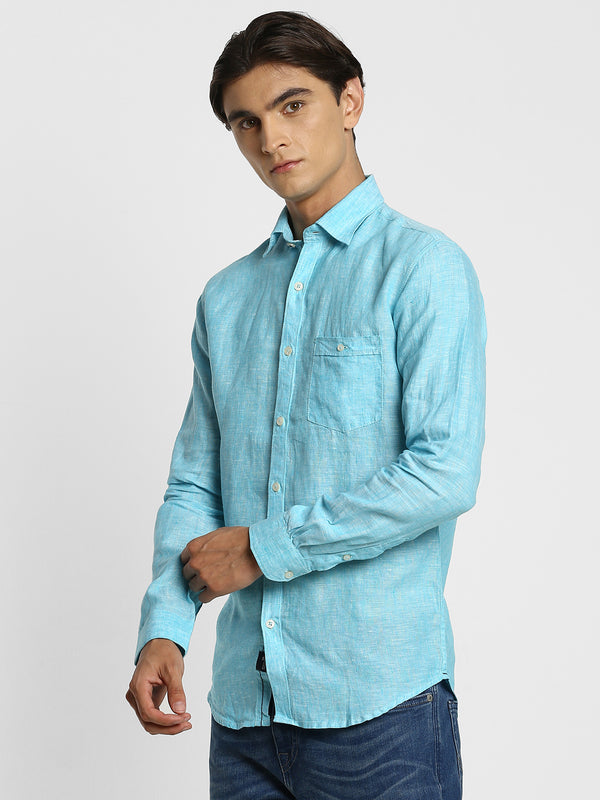 Aqua Blue Plain Linen Casual Shirt