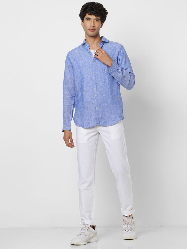 Blue Linen Plain Casual Shirt