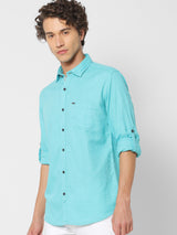 Green Plain Casual Shirt