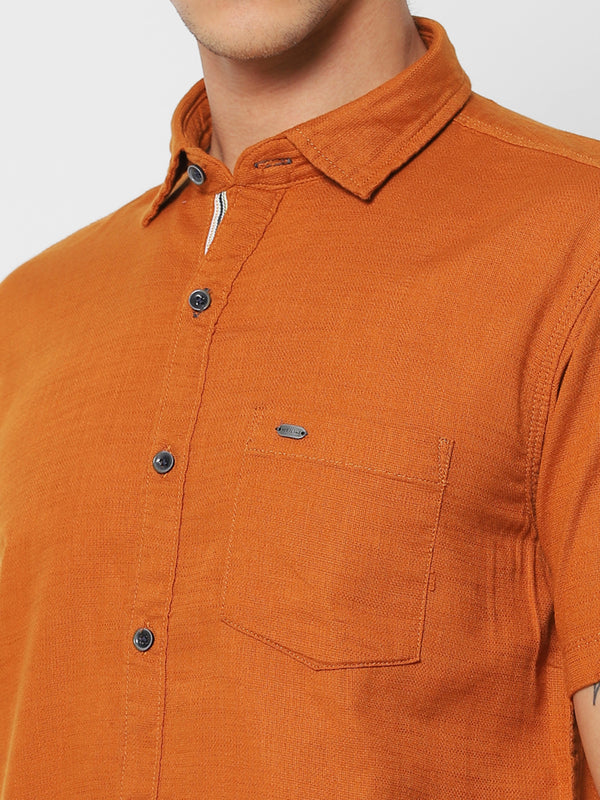 Khaki Plain Casual Shirt