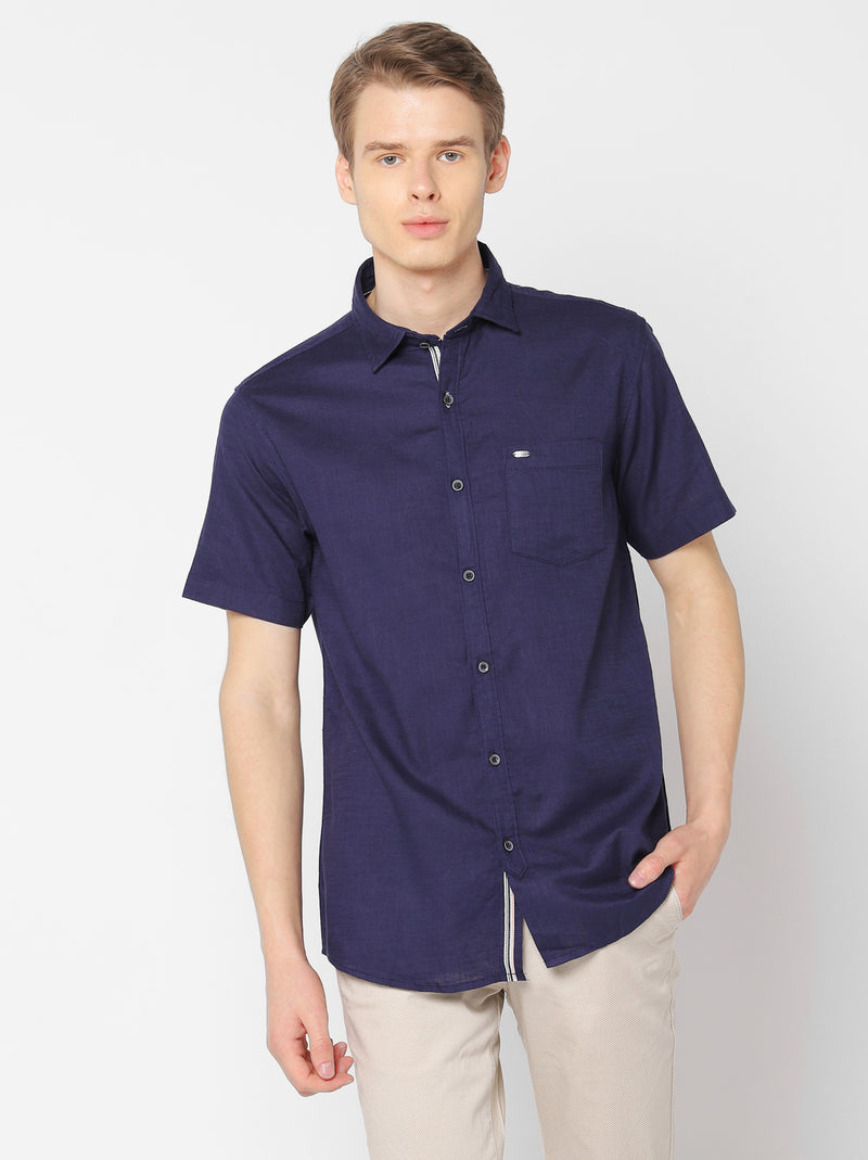 Navy Plain Casual Shirt