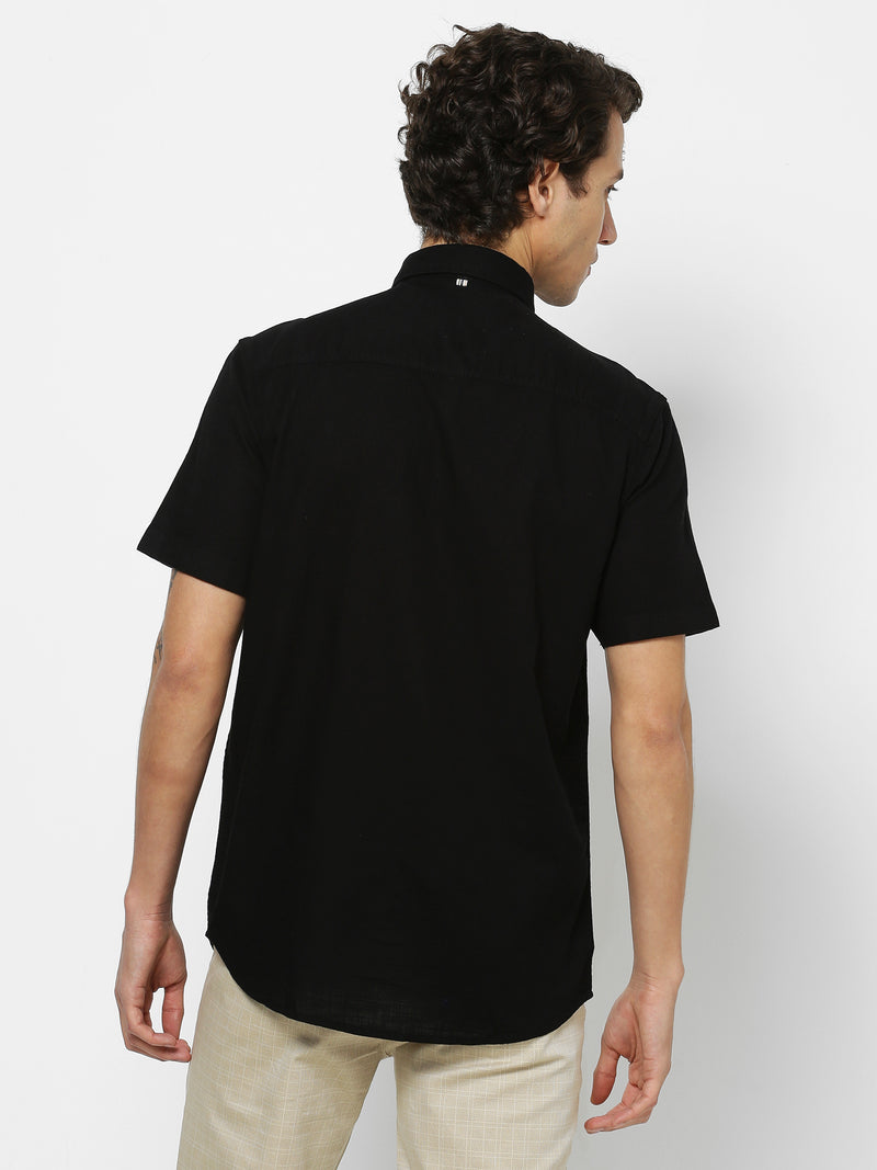 Black Plain Casual Shirt
