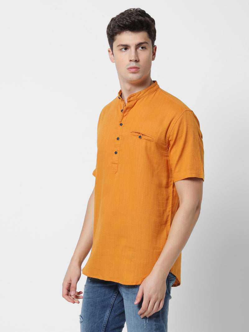 Yellow Plain Casual Kurta
