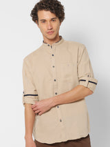 Khaki Linen Plain Casual Shirt
