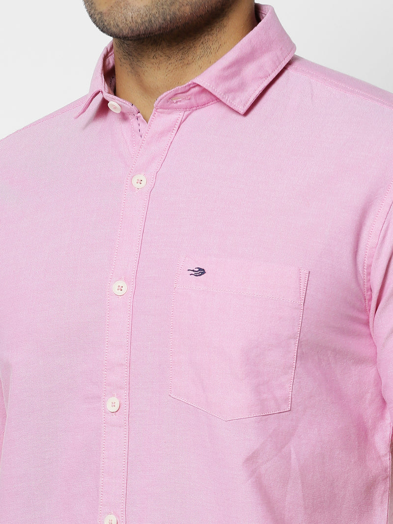 Pink Plain Casual Shirt