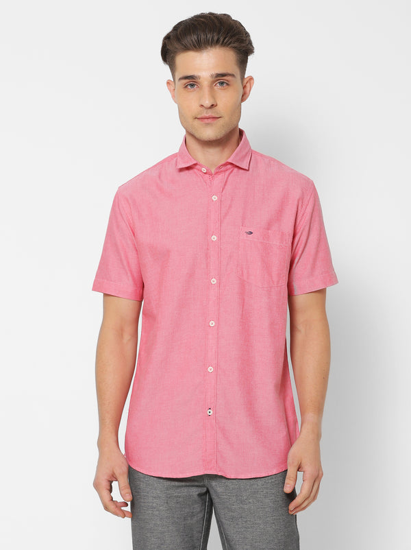 Red Plain Casual Shirt