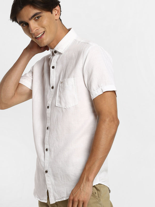 White Plain Linen Casual Shirt