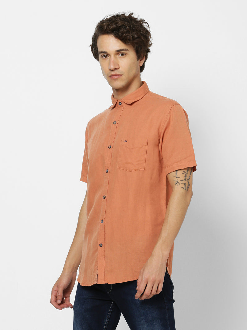 Orange Linen Plain Casual Shirt