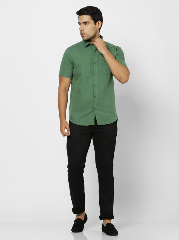 Green Linen Plain Casual Shirt