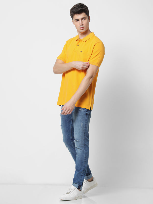 Yellow Plain Casual T-Shirt