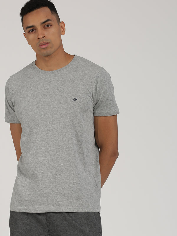 Grey Melange Plain Short Sleeve Casual T-Shirt