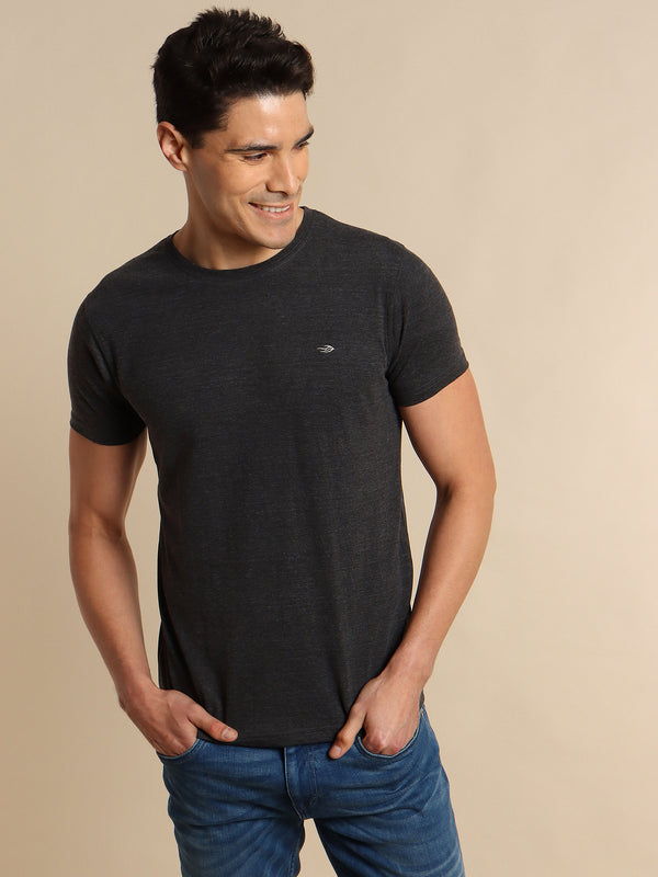 Anthra Melange Plain T-Shirt
