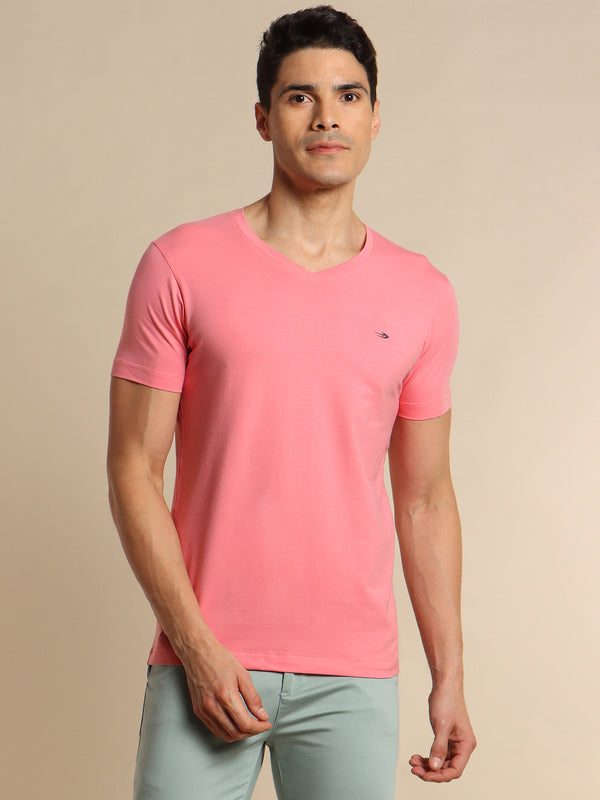 Pink Plain Stretch T-Shirt
