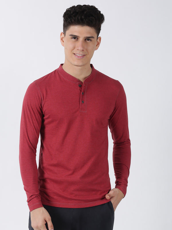 Maroon Melange Plain Long Sleeve Casual T-Shirt